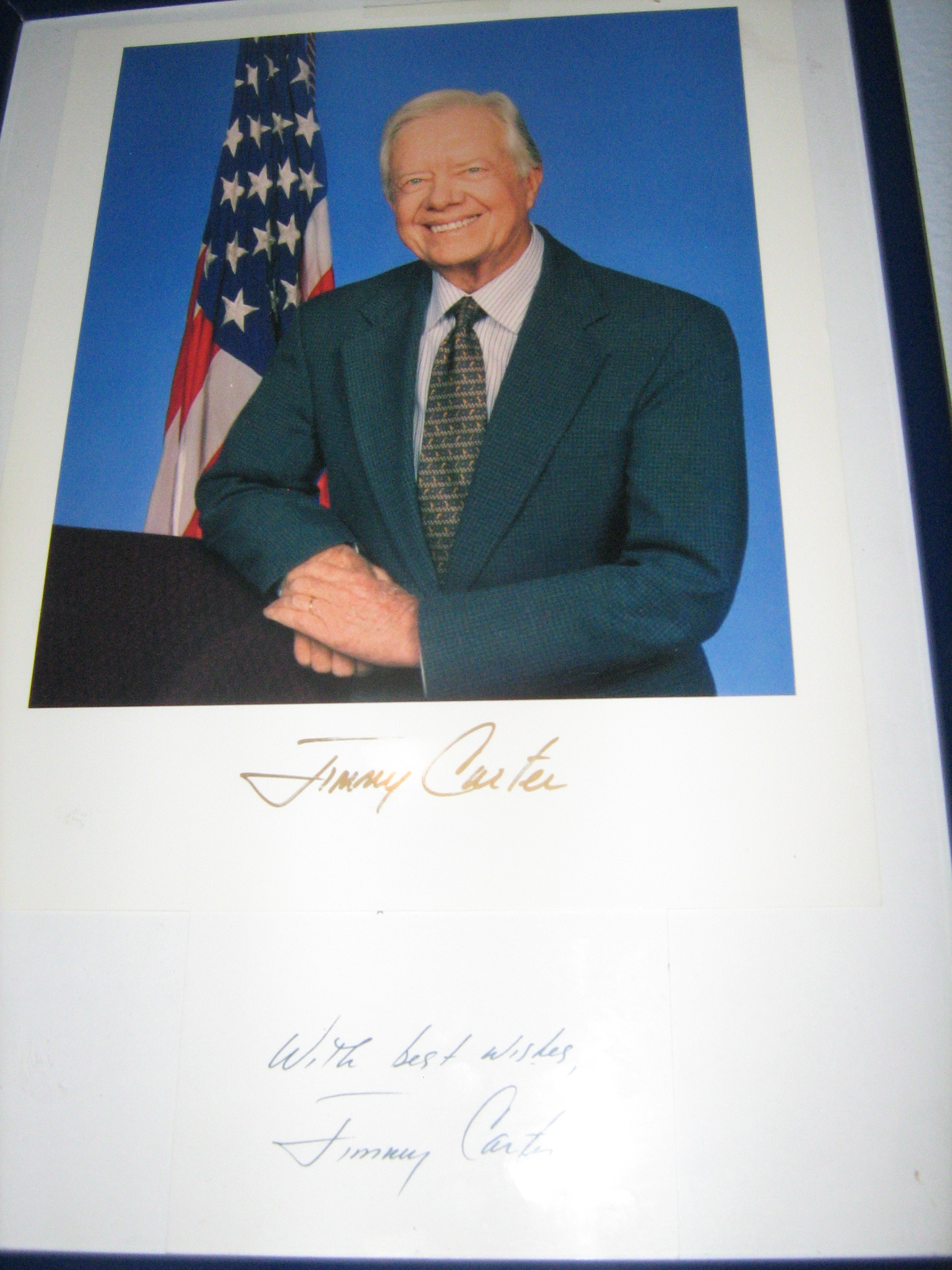 president jimmy carter original signed autograph in frame